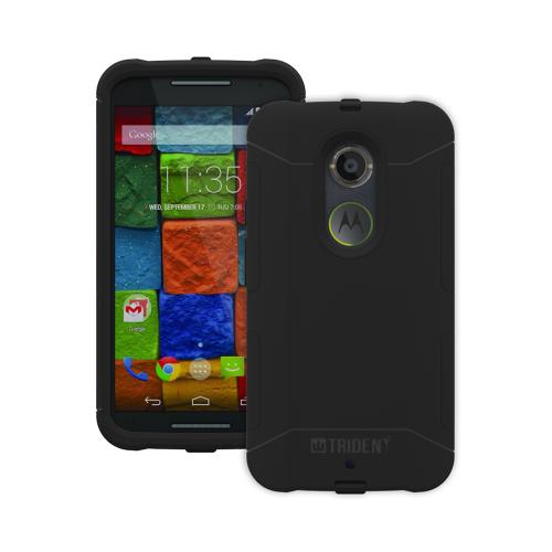 Moto X 2014 Case, Trident [black] Aegis Series Slim & Rugged Hard Case Over Silicone Skin Dual Layer Hybrid Case W/ Screen Protector