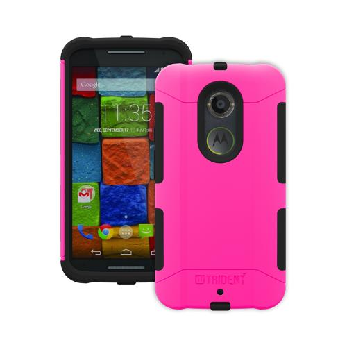 Trident Hot Pink/ Black Motorola Moto X (2014) Aegis Series Hard Case Over Silicone Skin Case W/ Screen Protector - Great Alternative To Otterbox!