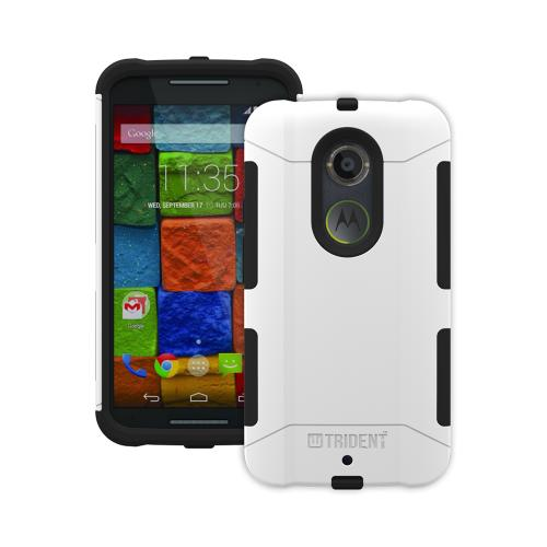 Trident White/ Black Motorola Moto X (2014 2nd Gen) Aegis Series Hard Cover Over Silicone Skin Case w/ Screen Protector {AG-MRXONE-WT000} - Great Alternative to Otterbox!