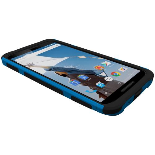 Nexus 6 Dual Layer Case by Trident [Blue on Black] Aegis Series Featuring Slim & Rugged Hard Case Over Silicone Skin Hybrid Case W/ Screen Protector