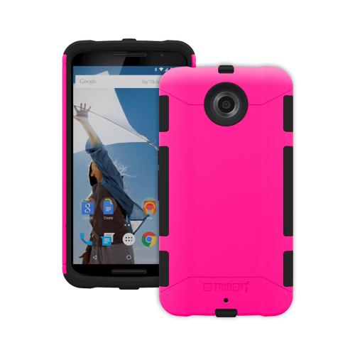Nexus 6 Dual Layer Case by Trident [Pink on Black] Aegis Series Featuring Slim & Rugged Hard Case Over Silicone Skin Hybrid Case W/ Screen Protector