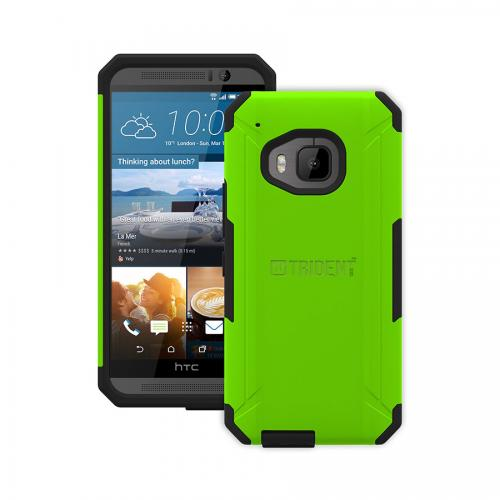 One M9 Case, Trident [Lime Green] Aegis Series Slim & Rugged Hard Cover Over Silicone Skin Dual Layer Hybrid Case w/ Screen Protector for HTC One M9