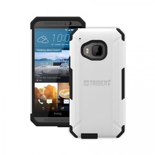 One M9 Case, Trident [White] Aegis Series Slim & Rugged Hard Cover Over Silicone Skin Dual Layer Hybrid Case w/ Screen Protector for HTC One M9