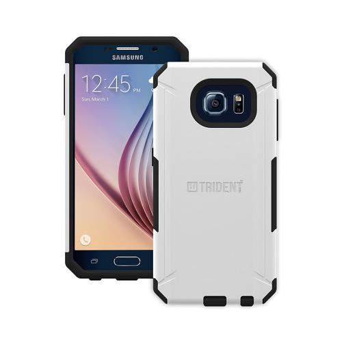 Trident Galaxy S6 Case | [White/ Black] Aegis Series Slim & Rugged Hard Cover over Silicone Skin Dual Layer Hybrid Case w/ Screen Protector for Samsung Galaxy S6 | Great Alternative to Otterbox!