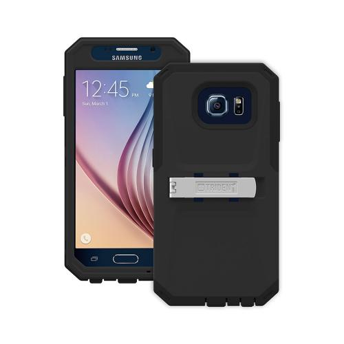 Trident Galaxy S6 Case | [Black] Kraken AMS Series Rugged Protective Hard Polycarbonate on Silicone Dual Layer Hybrid Case w/ Built-in Screen Protector for Samsung Galaxy S6 | Great Alternative to Otterbox!
