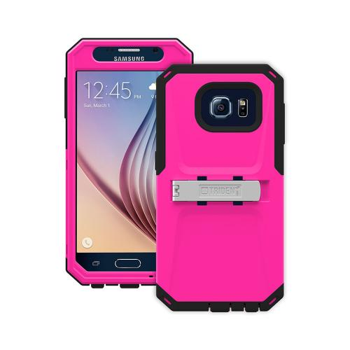 Trident Galaxy S6 Case | [Hot Pink/ Black] Kraken AMS Series Rugged Protective Hard Polycarbonate on Silicone Dual Layer Hybrid Case w/ Built-in Screen Protector for Samsung Galaxy S6 | Great Alternative to Otterbox!