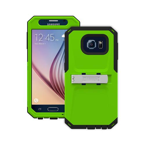 [Lime Green/ Black] Trident Kraken AMS Series Dual Layer Hybrid Case w/ Built-in Screen Protector & Holster Belt-Clip for Samsung Galaxy S6
