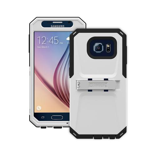 Trident Galaxy S6 Case | [White/ Black] Kraken AMS Series Rugged Protective Hard Polycarbonate on Silicone Dual Layer Hybrid Case w/ Built-in Screen Protector for Samsung Galaxy S6 | Great Alternative to Otterbox!