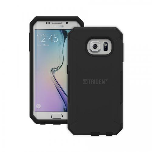 Galaxy S6 Edge Case, Trident [Black] Aegis Series Slim & Rugged Hard Cover Over Silicone Skin Dual Layer Hybrid Case w/ Screen Protector for Samsung Galaxy S6 Edge