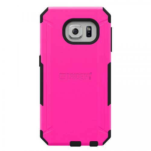 Samsung Galaxy S6 Edge Case, Trident [Hot Pink] AEGIS Series Featuring Slim & Rugged Hard Case Over Silicone Skin Hybrid Case