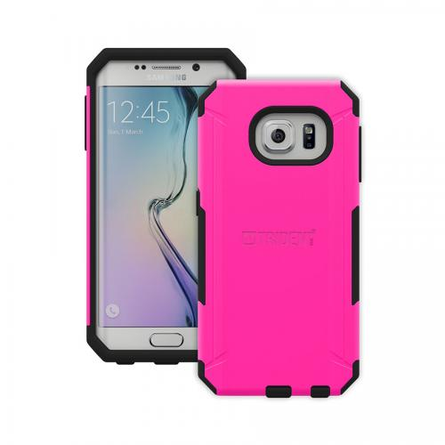 Galaxy S6 Edge Case, Trident [Hot Pink] Aegis Series Slim & Rugged Hard Cover Over Silicone Skin Dual Layer Hybrid Case w/ Screen Protector for Samsung Galaxy S6 Edge