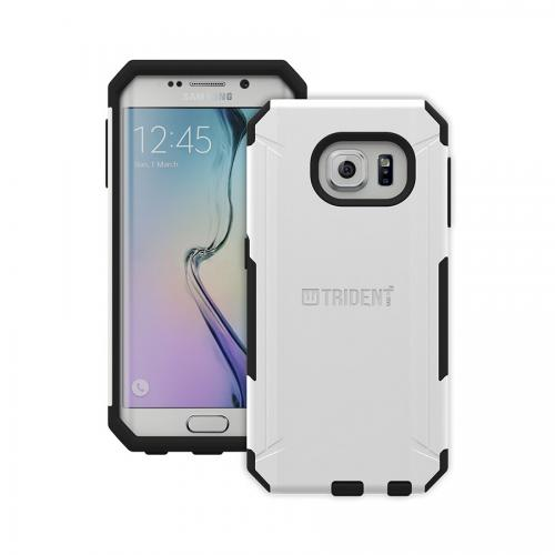 Galaxy S6 Edge Case, Trident [White] Aegis Series Slim & Rugged Hard Cover Over Silicone Skin Dual Layer Hybrid Case w/ Screen Protector for Samsung Galaxy S6 Edge