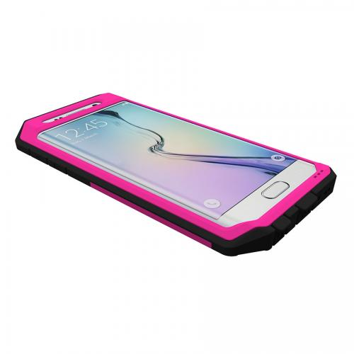 Samsung Galaxy S6 Edge Case, Trident [Hot Pink/ Black] KRAKEN AMS Series Rugged Protective Polycarbonate on Silicone Dual Layer Case