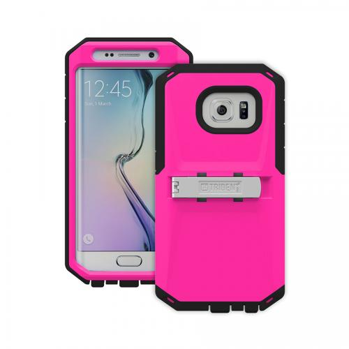 Galaxy S6 Edge Case by Trident | [Hot Pink/Black] Kraken AMS Rugged Protective Polycarbonate on Silicone Dual Layer Case W/ Built-in Screen Protector