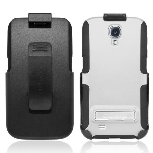 Seidio White/ Black Active Series Combo Hard Cover Over Silicone w/ Kickstand & Holster for Samsung Galaxy S4 - BD2-HK3SSGS4K-GL