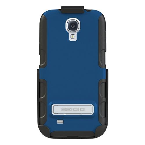Seidio Royal Blue/ Black Active Series Combo Rubberized Hard Cover Over Silicone w/ Kickstand & Holster for Samsung Galaxy S4 - BD2-HK3SSGS4K-RB