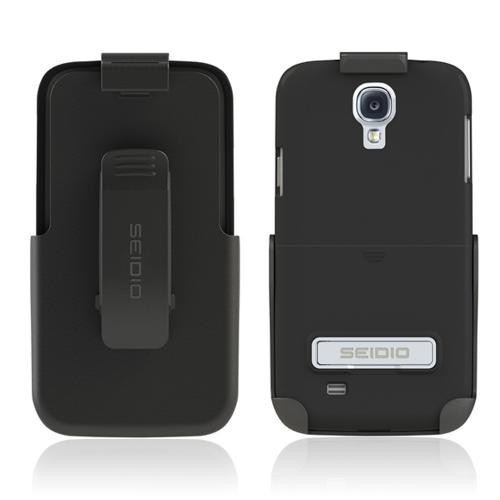 Seidio Black Surface Combo Rubberized Hard Cover Case w/ Kickstand & Holster for Samsung Galaxy S4 - BD2-HR3SSGS4K-BK