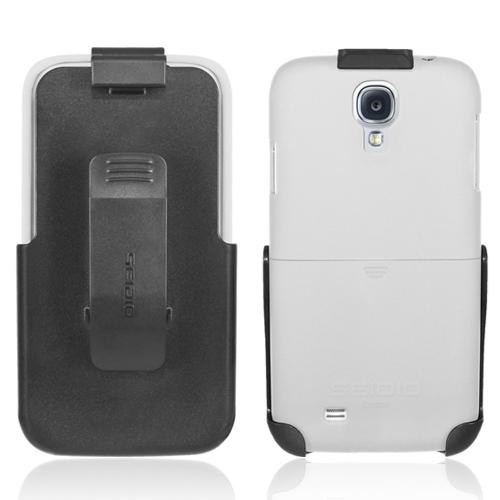 Seidio White/ Black Surface Series Combo Hard Cover Case w/ Kickstand & Holster for Samsung Galaxy S4 - BD2-HR3SSGS4K-GL