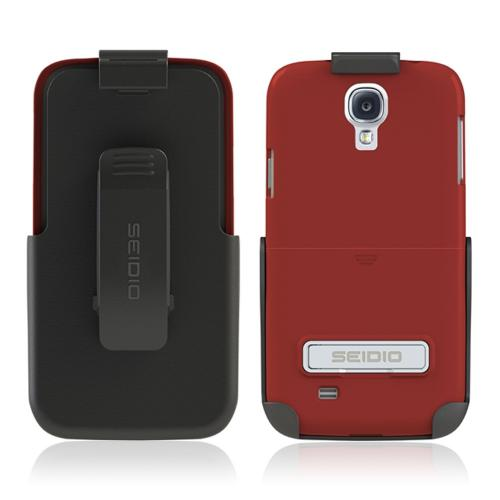 Seidio Garnet Red Surface Combo Rubberized Hard Cover Case w/ Kickstand & Black Holster for Samsung Galaxy S4 - BD2-HR3SSGS4K-GR
