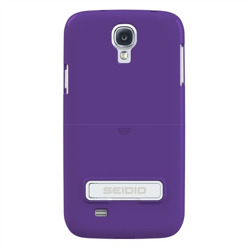Seidio Purple Surface Series Combo Rubberized Hard Cover Case w/ Kickstand & Black Holster for Samsung Galaxy S4 - BD2-HR3SSGS4K-PR