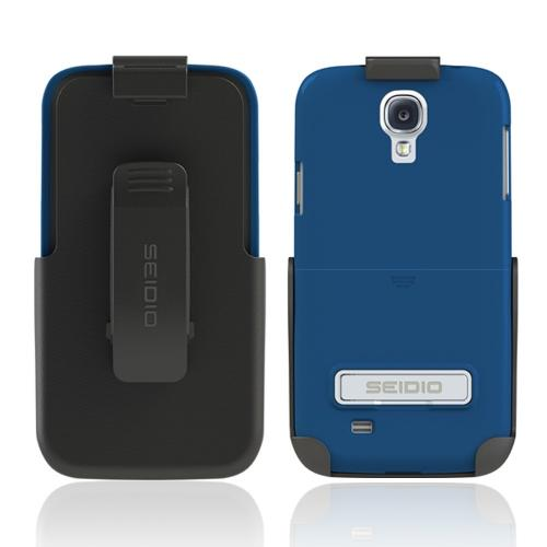 Seidio Royal Blue Surface Series Combo Rubberized Hard Cover Case w/ Kickstand & Holster for Samsung Galaxy S4 - BD2-HR3SSGS4K-RB