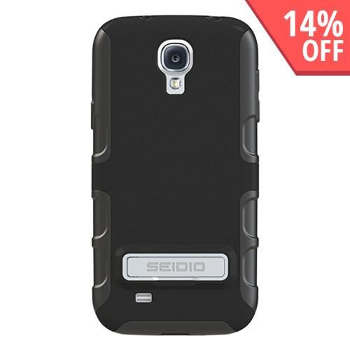 Seidio Black Active Rubberized Hard Cover Over Silicone w/ Kickstand for Samsung Galaxy S4