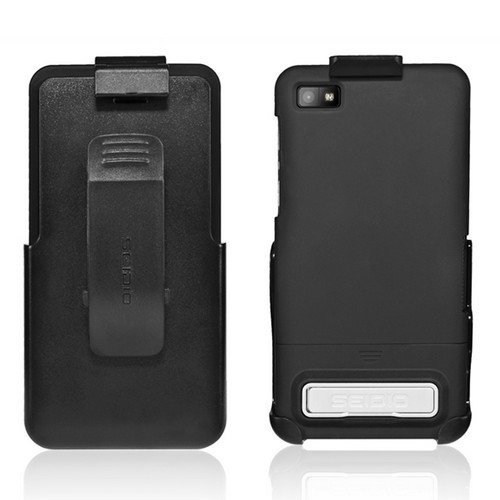 Seidio Black Surface Combo Rubberized Hard Cover Case w/ Kickstand & Holster for Blackberry Z10