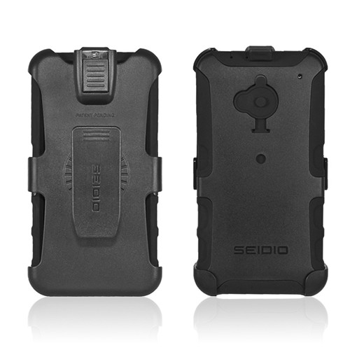 Seidio Black Convert Combo Hard Cover Over Silicone w/ Holster & Belt Clip for HTC One - BD4-HKR4HTM7