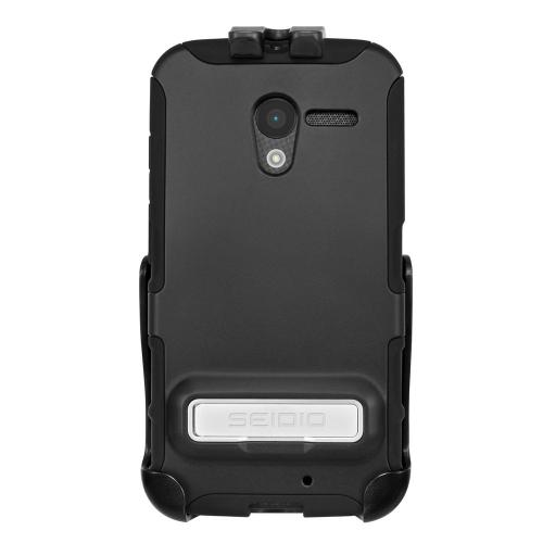 Seidio Black Active Combo Series Rubberized Hard Cover Over Silicone w/ Metal Kickstand & Holster for Motorola Moto X (2013 1st Gen) - BD2-HK3MTXPK-BK