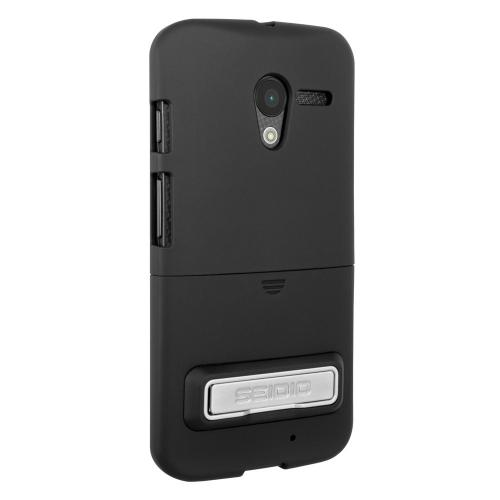 Seidio Black Surface Combo Series Rubberized Hard Cover Case w/ Metal Kickstand & Holster for Motorola Moto X (2013 1st Gen) - BD2-HR3MTXPK-BK