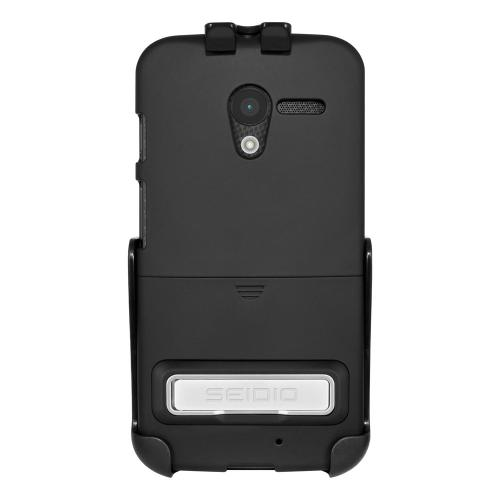 Seidio Black Surface Combo Series Rubberized Hard Cover Case w/ Metal Kickstand & Holster for Motorola Moto X - BD2-HR3MTXPK-BK