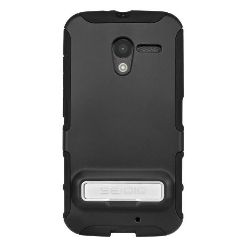 Seidio Black Active Series Rubberized Hard Cover Over Silicone w/ Metal Kickstand for Motorola Moto X (2013 1st Gen) - CSK3MTXPK-BK