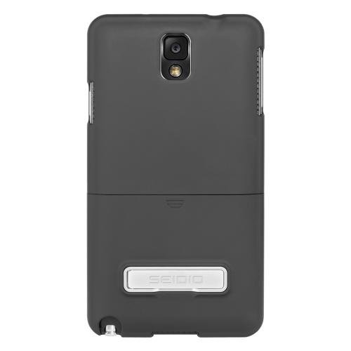 Seidio Black Surface Series Rubberized Slide-On Hard Case w/ Metal Kickstand for Samsung Galaxy Note 3 - CSR3SSGT3K-BK