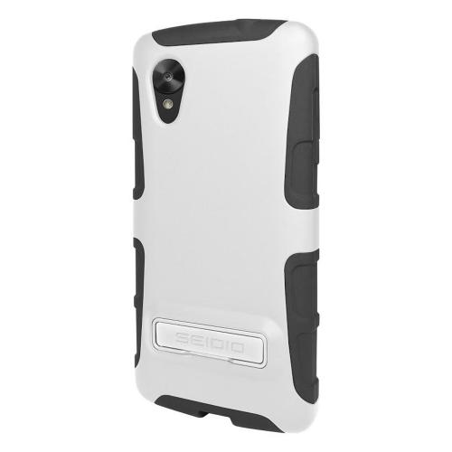 Seidio White/ Black DILEX Combo Series Glossy Hard Cover Over Silicone w/ Kickstand & Holster for LG Google Nexus 5 - BD2-HK3LGN5K-GL