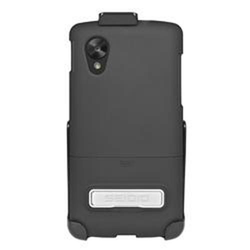 Seidio Black Surface Combo Rubberized Slide-On Hard Cover Case w/ Kickstand & Holster for LG Google Nexus 5 - BD2-HR3LGN5K-BK