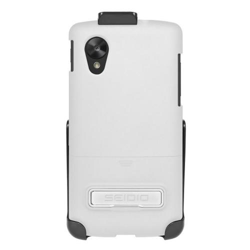 Seidio White Surface Combo Glossy Slide-On Hard Cover Case w/ Kickstand & Holster for LG Google Nexus 5 - BD2-HR3LGN5K-GL