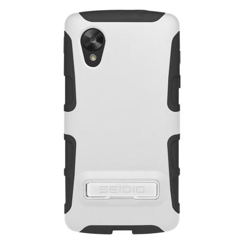 Seidio White/ Black DILEX Series Glossy Hard Cover Over Silicone w/ Kickstand for LG Google Nexus 5 - CSK3LGN5K-GL