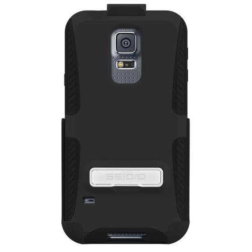 Galaxy S5 Dual Layer Case by Seidio [Black] Dilex Series Featuring Protective Harden Polycarbonate on Silicone Skin w/ Holster & Built-in Kickstand