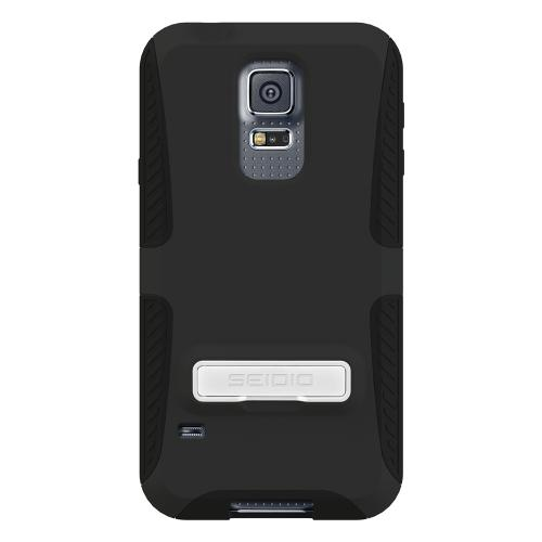 Seidio Black Samsung Galaxy S5 Dilex Series Rubberized Hard Case W/ Kickstand On Silicone Skin csk3ssgs5k-bk - Fantastic Shock Absorbing Protection!