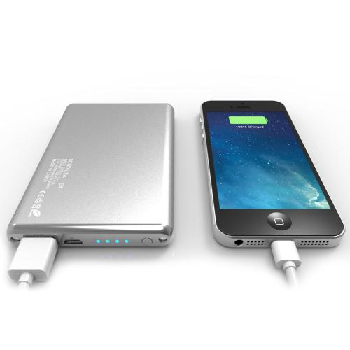 Elf 6000mAh Ultra-Slim Portable External Battery Power Bank- Silver - XX001