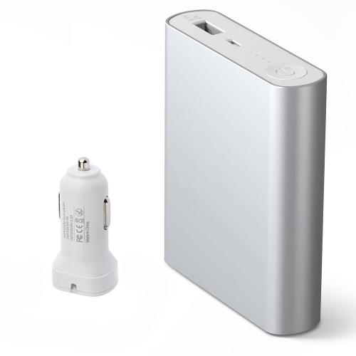 P100c 10400 mAh Power Bank External Battery Charger w/ Dual USB Car Charger - Silver- XX001
