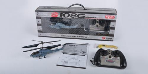 "8"" Syma S108G 3CH RC Indoor Mini Co-Axial Infared Marines RC Heli w/ Gyro"