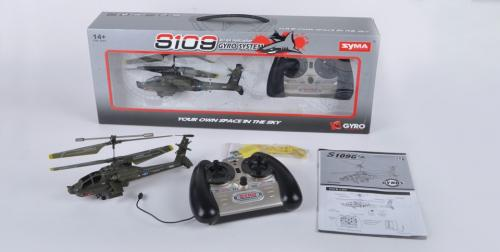 "8"" Syma S109G Apache AH-64 3 Channel Mini Indoor Helicopter"