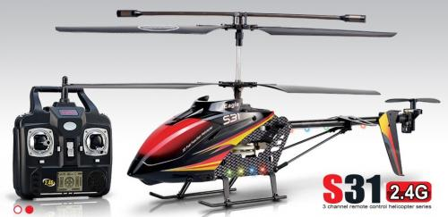 "24"" Syma S31 Metal Eagle 3CH RC Helicopter 2.4Ghz Black/Red"