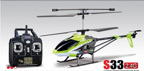 "30.5"" Syma S33 Metal 3CH 2.4Ghz RC Helicopter Green"