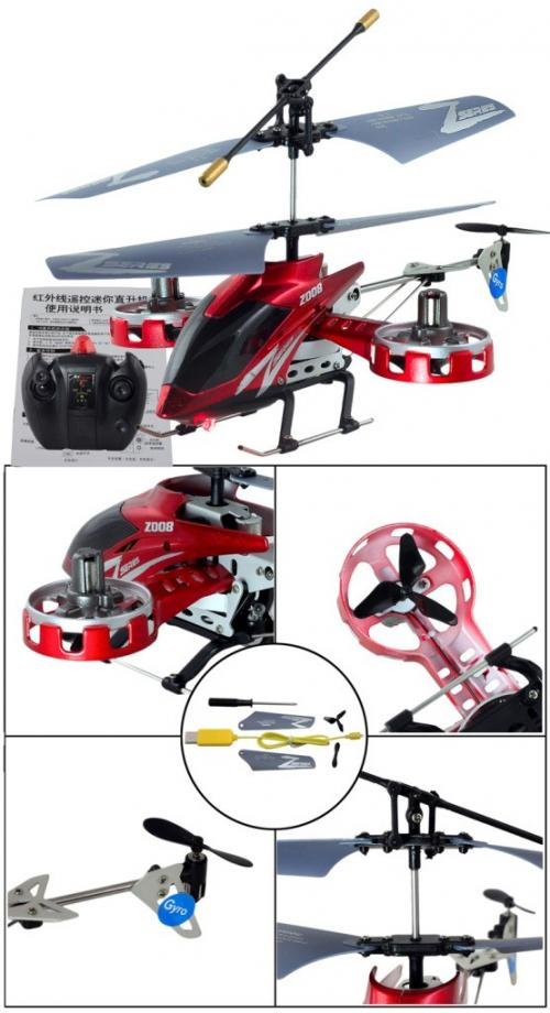 "8"" 4CH Co-axial Remote Control Heli RTF Gyro (Red)"