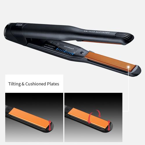 Glampalm Classic Ceramic Hair Straightener, Styling Flat Iron, 1/2 -inch with Digital LCD + [FREE heat resistant pouch and cap]