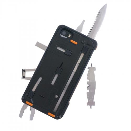 iPhone 5/5s Taskone G3 Utility Case by Task Lab [Orange Accent] Featuring Protective Harden Polycarbonate w/ 22 Built-in Stainless Steel Tools