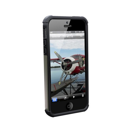 OEM Urban Armor Gear Apple iPhone 5 Hybrid Hard Cover On Silicone Case w/ Screen Protector - Gray/ Black