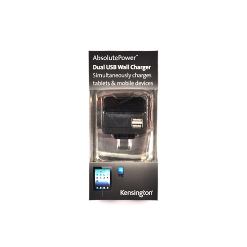 Kensington AbsolutePower Universal Dual USB Wall Charger w/ 2 USB Cables (4200 mAh) - Black